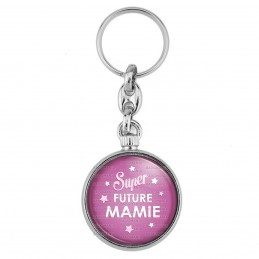 Porte-Clés forme Montre Antique 2 faces Super Future MAMIE - Etoiles Fond Rose