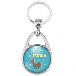 Porte Clés Métal 2 Faces Logo 3cm J'Peux Pas J'ai Poney - Equitation fond bleu