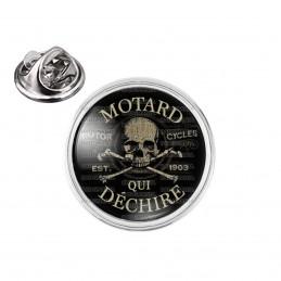 Pin's rond 2cm argenté Motard qui déchire - Tête de Mort Ailes Fond Noir