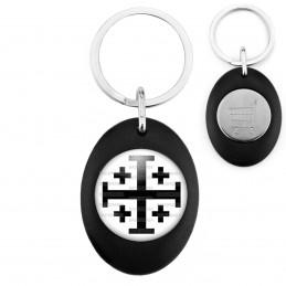 Porte-Clés Noir Ovale Jeton Caddie Croix de Jérusalem Noire Fond Blanc Terre Sainte Catholique Nation