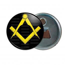 Décapsuleur 6cm Aimant Magnet Compas Equerre Francs-Maçons Symbole Maçonnique Jaune Fond Noir