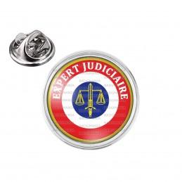 Pin's rond 2cm argenté Cocarde Expert Judiciaire Bleu Blanc Rouge Texte Blanc