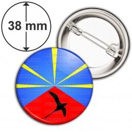 Badge 38mm Epingle Drapeau Réunion Paille en Queue Emblème Ile de la Réunion Flag France