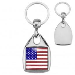 Porte-Clés Carré Acier Drapeau USA United States Of America Flag Emblème