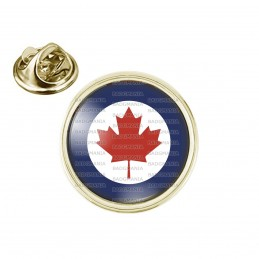 Pin's rond 2cm doré Cocarde Force Aerienne Canadienne Canada RCAF Feuille Erable Rouge