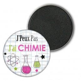 Magnet Aimant Frigo 3.8cm J'Peux pas J'ai Chimie - Fioles Quadrillage