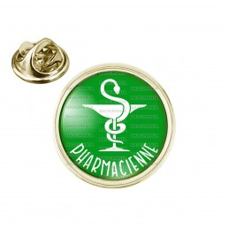 Pin's rond 2cm doré Pharmacienne Caducée Esculape Blanc Fond Vert