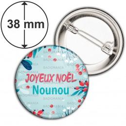 Badge 38mm Epingle Joyeux Noël Nounou - Gui Houx Fond bleu