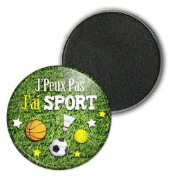 Magnet Aimant Frigo 3.8cm J'Peux Pas j'ai Sport - Ballons Fond Herbe