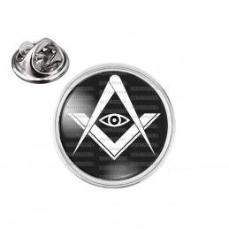 Pin's rond 2cm argenté Compas Equerre Francs-Maçons Symbole Maçonnique Blanc fond Noir