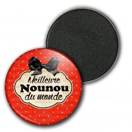 Magnet Aimant Frigo 3.8cm Meilleure nounou du monde - Fond Rouge Nœud Papillon