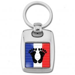 Porte Clés Rectangle Acier 2 Faces Pieds Noirs Drapeau France Français Algérie Maroc tunisie