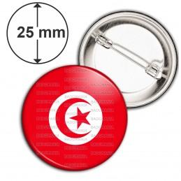 Badge 25mm Epingle Drapeau Tunisien Tunisie Croissant Rouge Embleme Islamique