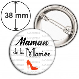 Badge 38mm Epingle Maman de la Mariée - Escarpin Rouge Mariage Cérémonie