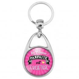 Porte Clés Métal 2 Faces Logo 3cm La Femme Parfaite est GUICHETIERE - Rose COEur Jaune