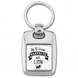 Porte Clés Rectangle Acier 2 Faces La Femme Parfaite est LION Signe Astrologique