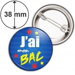 Badge 38mm Epingle J'ai mon BAC - Etoiles Fond Bleu