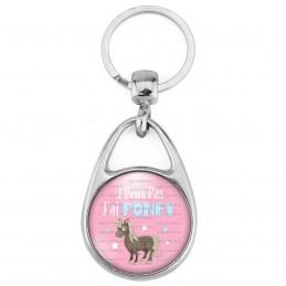 Porte Clés Métal 2 Faces Logo 3cm J'Peux Pas J'ai Poney - Equitation fond rose