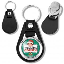 Porte-Clés Cuir Vegan Rond Jeton Caddie Joyeuses Fêtes COUSIN Noël Gui Cloches
