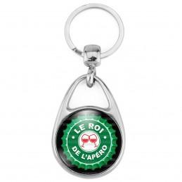 Porte Clés Métal 2 Faces Logo 3cm Le Roi de l'Apéro - Capsule bière