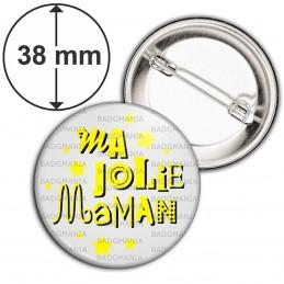 Badge 38mm Epingle Ma jolie Maman - Fond Gris Etoiles Jaunes