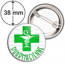 Badge 38mm Epingle Pharmacienne Caducée Esculape Croix Verte Fond Blanc