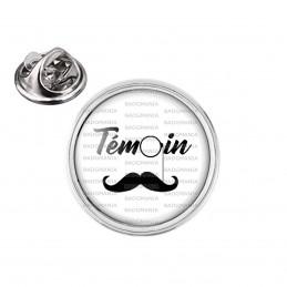 Pin's rond 2cm argenté Témoin Homme - Binocle Moustache Mariage Cérémonie