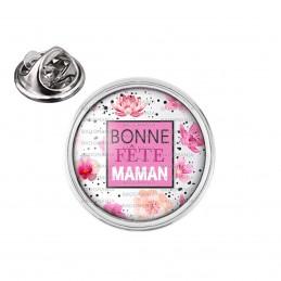 Pin's rond 2cm argenté Bonne Fête Maman - Rose Fleurs roses sur blanc