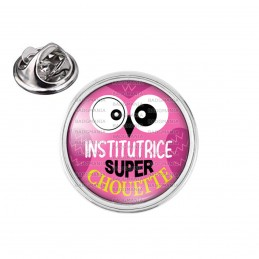 Pin's rond 2cm argenté Institutrice Super Chouette Fond Rose Violet