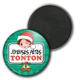 Magnet Aimant Frigo 3.8cm Joyeuses Fêtes TONTON Noël Gui Cloches