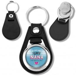Porte-Clés Cuir Vegan Rond Jeton Caddie Je suis une super Nana et qui déchire en plus - Fond Bleu