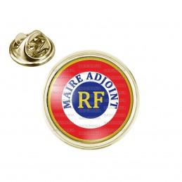 Pin's rond 2cm doré Cocarde Bleu Blanc Rouge RF Maire Adjoint Bleu Position Haut