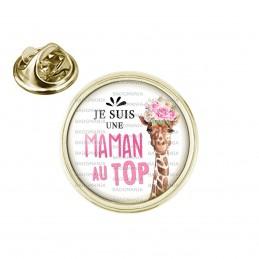 Pin's rond 2cm doré Je suis une Maman au Top - Girafe Fleurs Fond Blanc