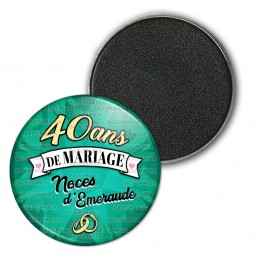 Magnet Aimant Frigo 3.8cm 40 ans de Mariage Noces d'Emeraude - Anneaux Anniversaire Mariage