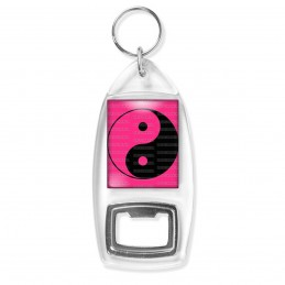 Porte Clés Décapsuleur Yin Yang Rose Fuschia Noir Harmonie Equilibre Feng Shui Paix Peace