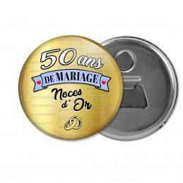 Décapsuleur 6cm Aimant Magnet 50 ans de Mariage Noces d'Or - Anneaux Anniversaire Mariage