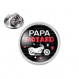 Pin's rond 2cm argenté Papa Motard - Moto Blanche Fond Noir