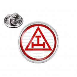Pin's rond 2cm argenté Arche Royale Rite Francs-Maçons Maçonnique Rouge
