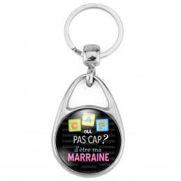 Porte Clés Métal 2 Faces Logo 3cm Cap ou pas Cap d'être ma Marraine - Fond noir - Annonce Naissance
