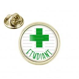 Pin's rond 2cm doré Etudiant en Pharmacie Croix Verte Fond Blanc