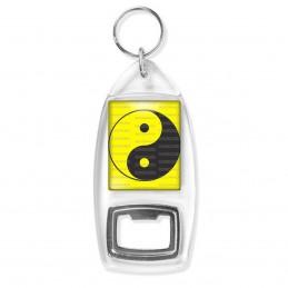 Porte Clés Décapsuleur Yin Yang Jaune Gris Foncé Harmonie Equilibre Feng Shui Paix Peace