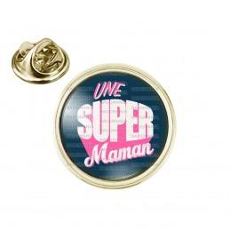 Pin's rond 2cm doré Une Super Maman - Fond Bleu