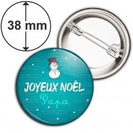 Badge 38mm Epingle Joyeux Noël PAPA - Bonhomme de neige Flocons Fond Bleu