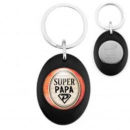 Porte-Clés Noir Ovale Jeton Caddie Super Papa - Super Héros Ovale Fond Orange
