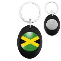 Porte-Clés Noir Ovale Jeton Caddie Drapeau Jamaïcain Jamaïque Croix de Saint André
