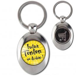 Porte-Clés Acier Ovale Jeton Caddie Futur Tonton qui Déchire - Fond jaune