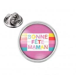 Pin's rond 2cm argenté Bonne Fête Maman - Rose Multicolore