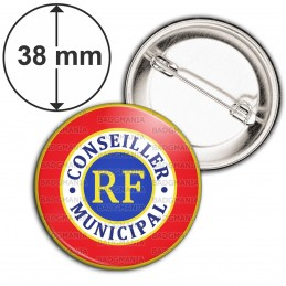 Badge 38mm Epingle Cocarde Tricolore Conseiller Municipal RF Bleu Blanc Rouge