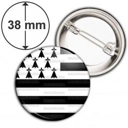 Badge 38mm Epingle Drapeau Breton Bretagne Hermine Brezhoneg Celte Celtique Noir Blanc