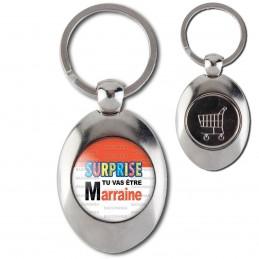 Porte-Clés Acier Ovale Jeton Caddie SURPRISE Tu vas être MARRAINE - Logo Œufs Chocolats